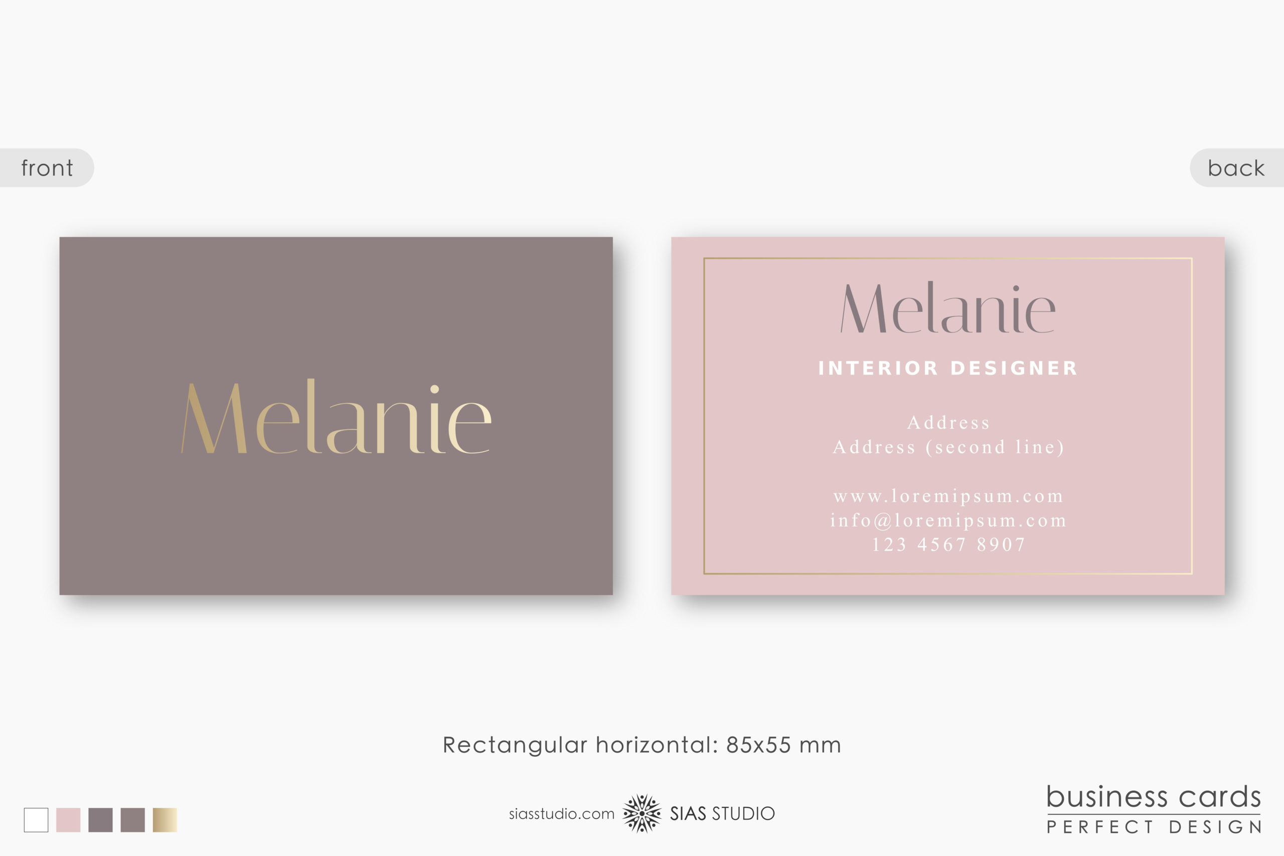 Business Card Template Melanie Gold Effect Design Sias Studio Designs