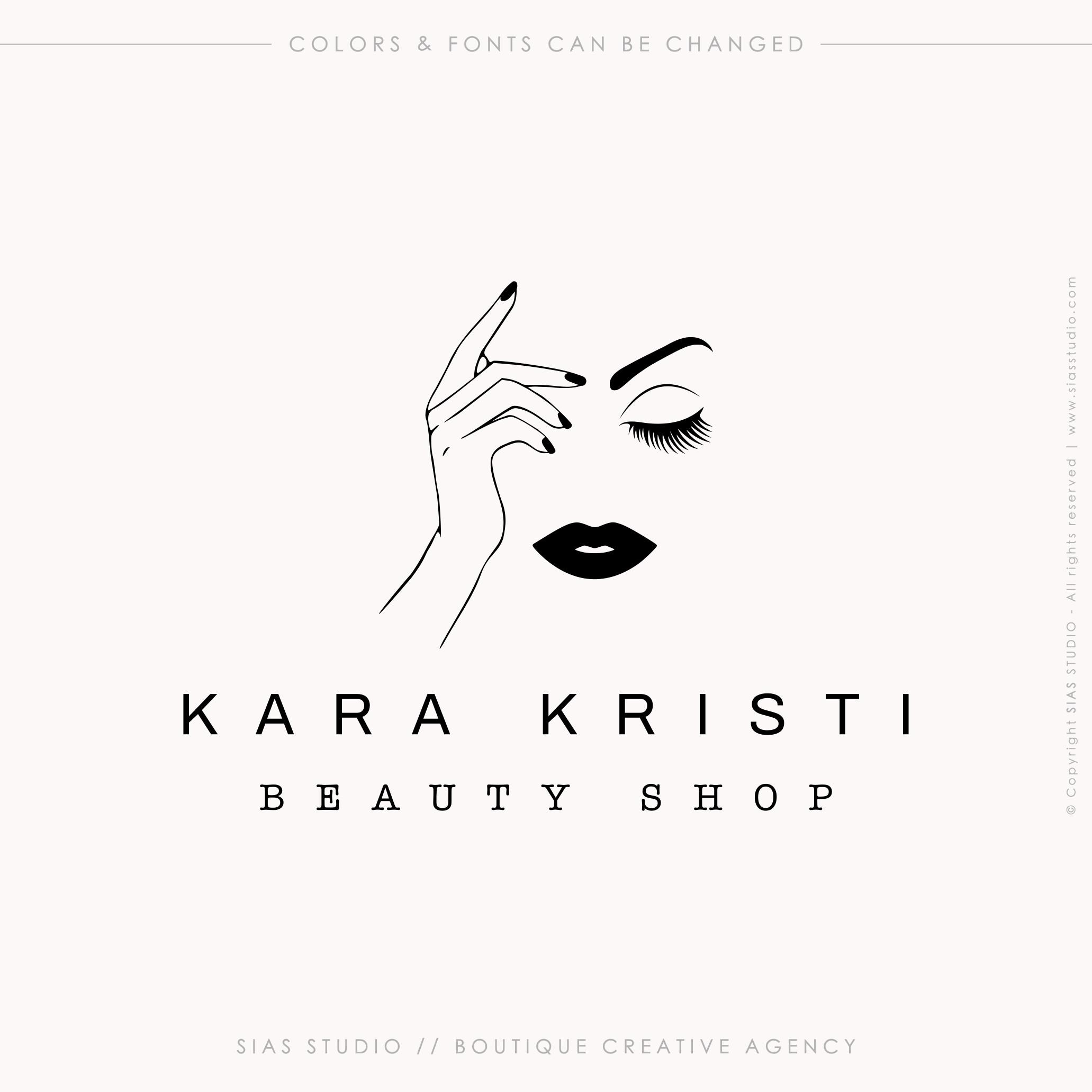 Kara Kristi Beauty Logo Design With Woman Sias Studio