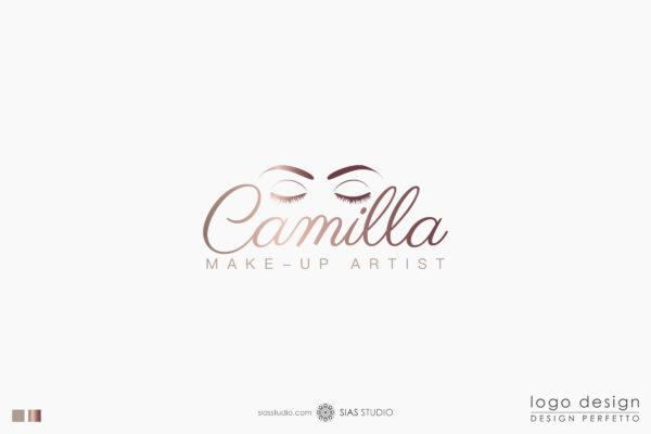 """Logo design """"Camilla"""" con occhi effetto oro"""
