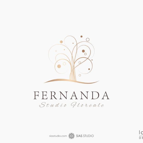 """Logo design """"Fernanda"""" con albero effetto oro"""