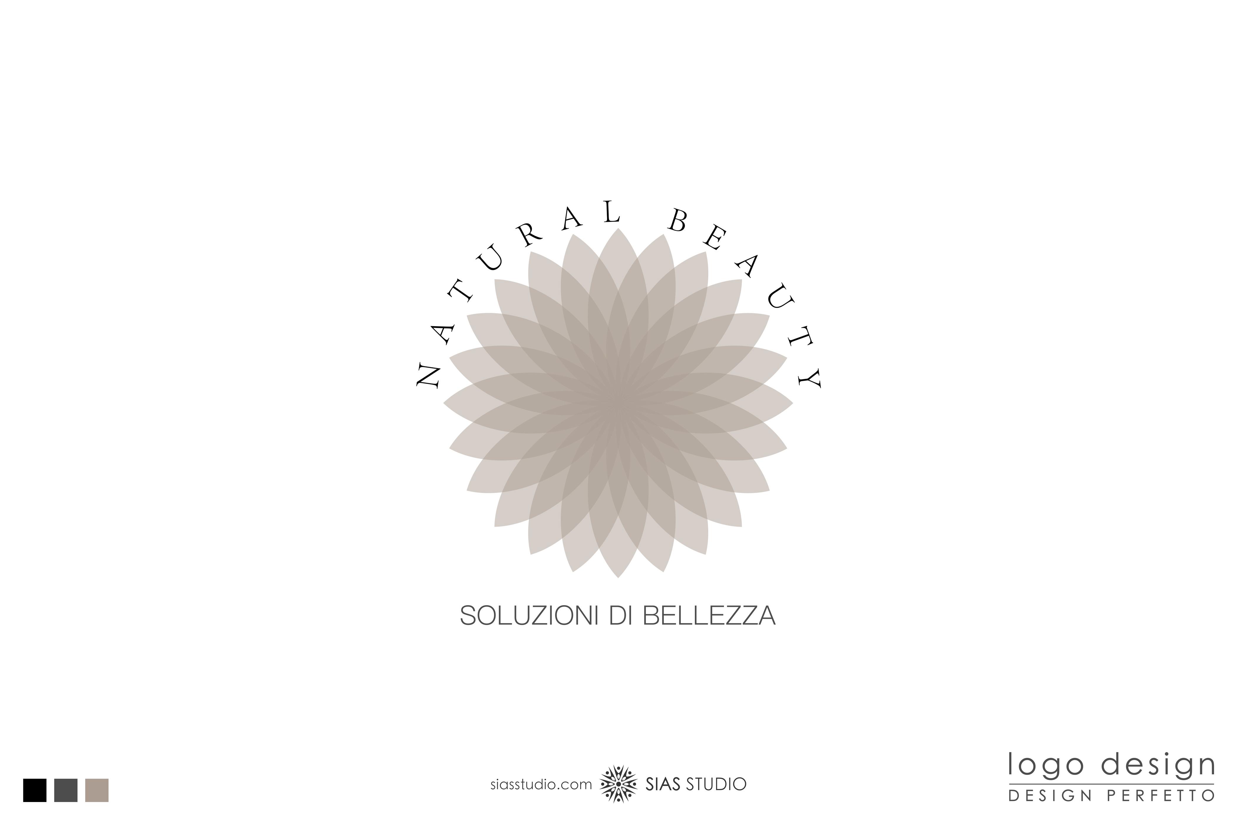 """Logo design """"Natural Beauty"""" con fiore di loto"""