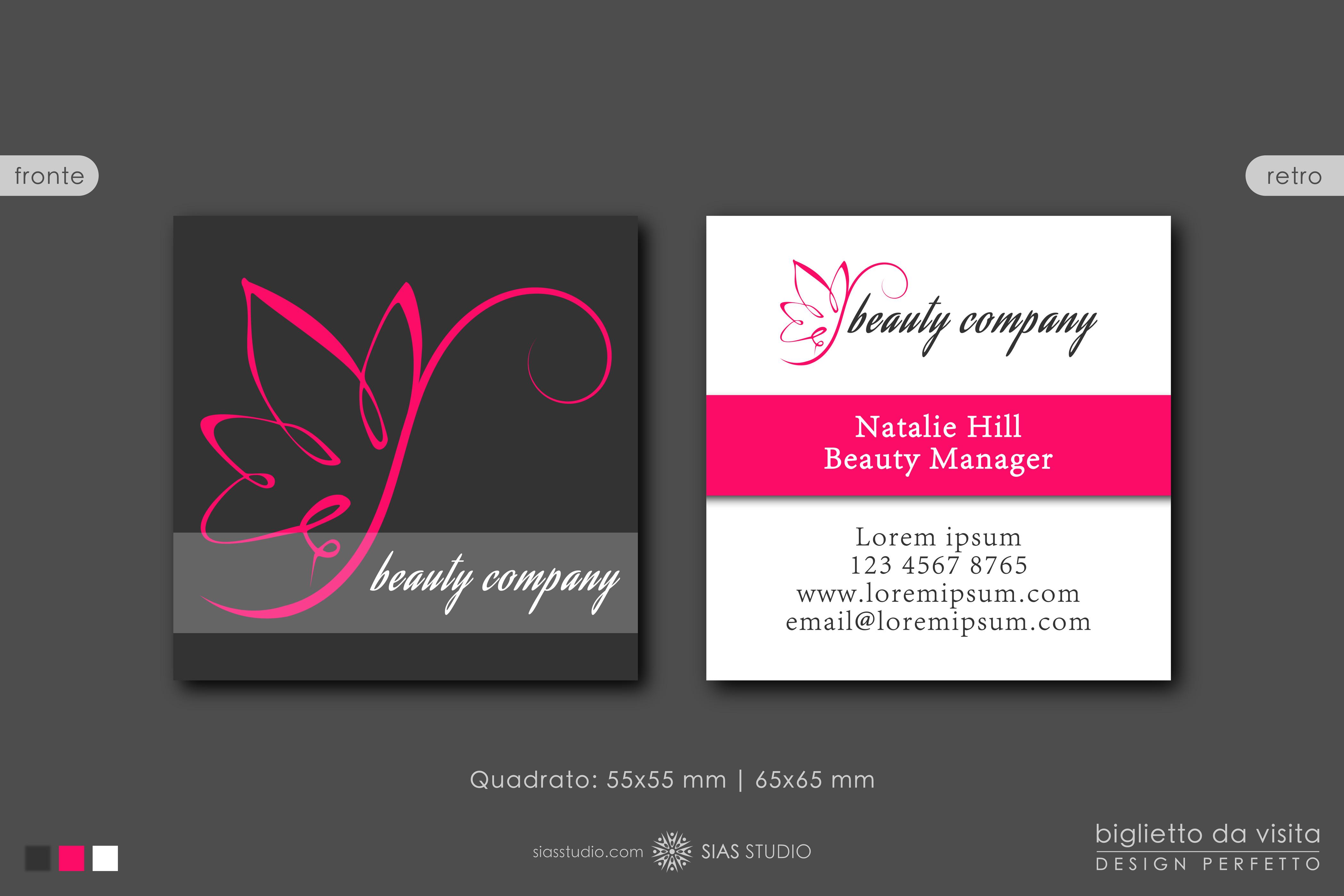 modello per biglietto da visita beauty company design con farfalla