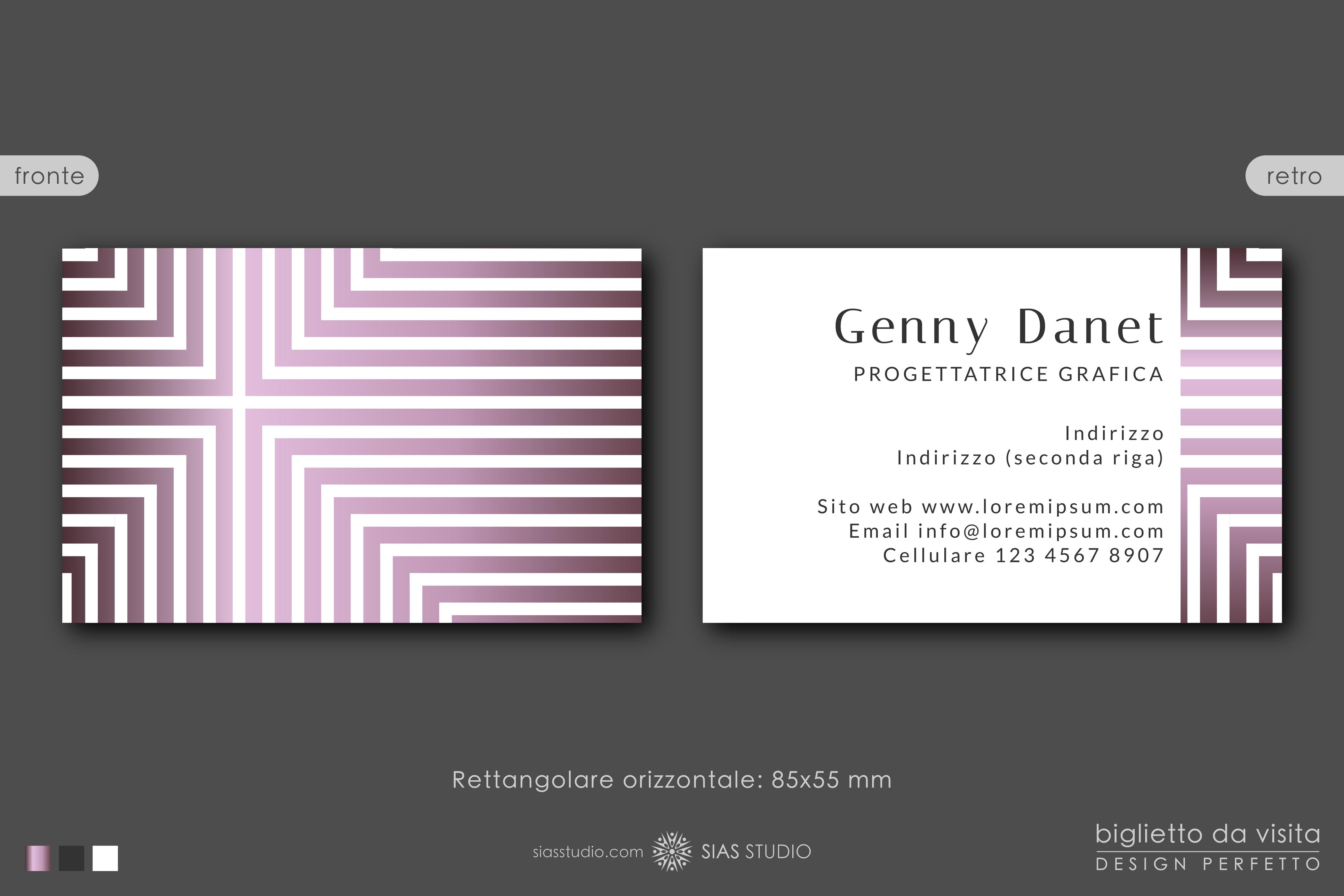 """Modello per Biglietto da visita """"Genny Danet"""" Design con righe e sfumature"""