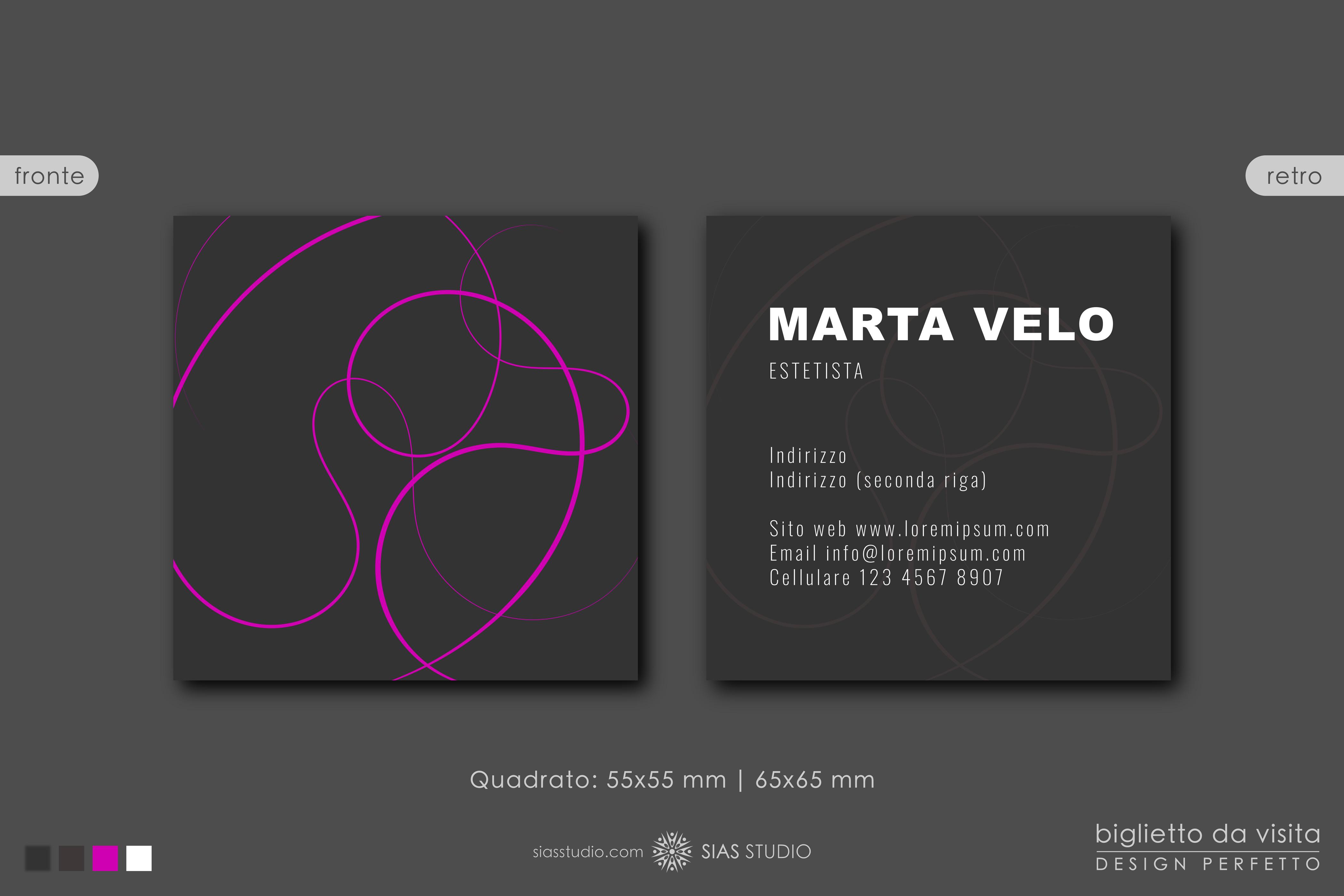 """Modello per Biglietto da visita """"Marta Velo"""" Design fantasia porpora"""