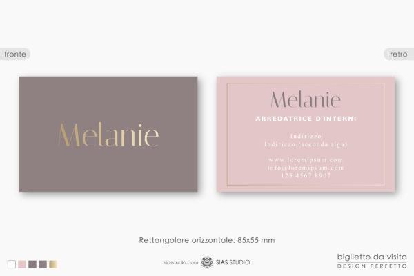 """Modello per Biglietto da visita """"Melanie"""" Design effetto oro"""