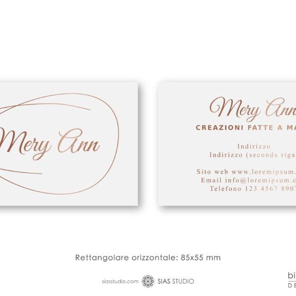 """Modello per Biglietto da visita """"Mery Ann"""" Design effetto oro"""