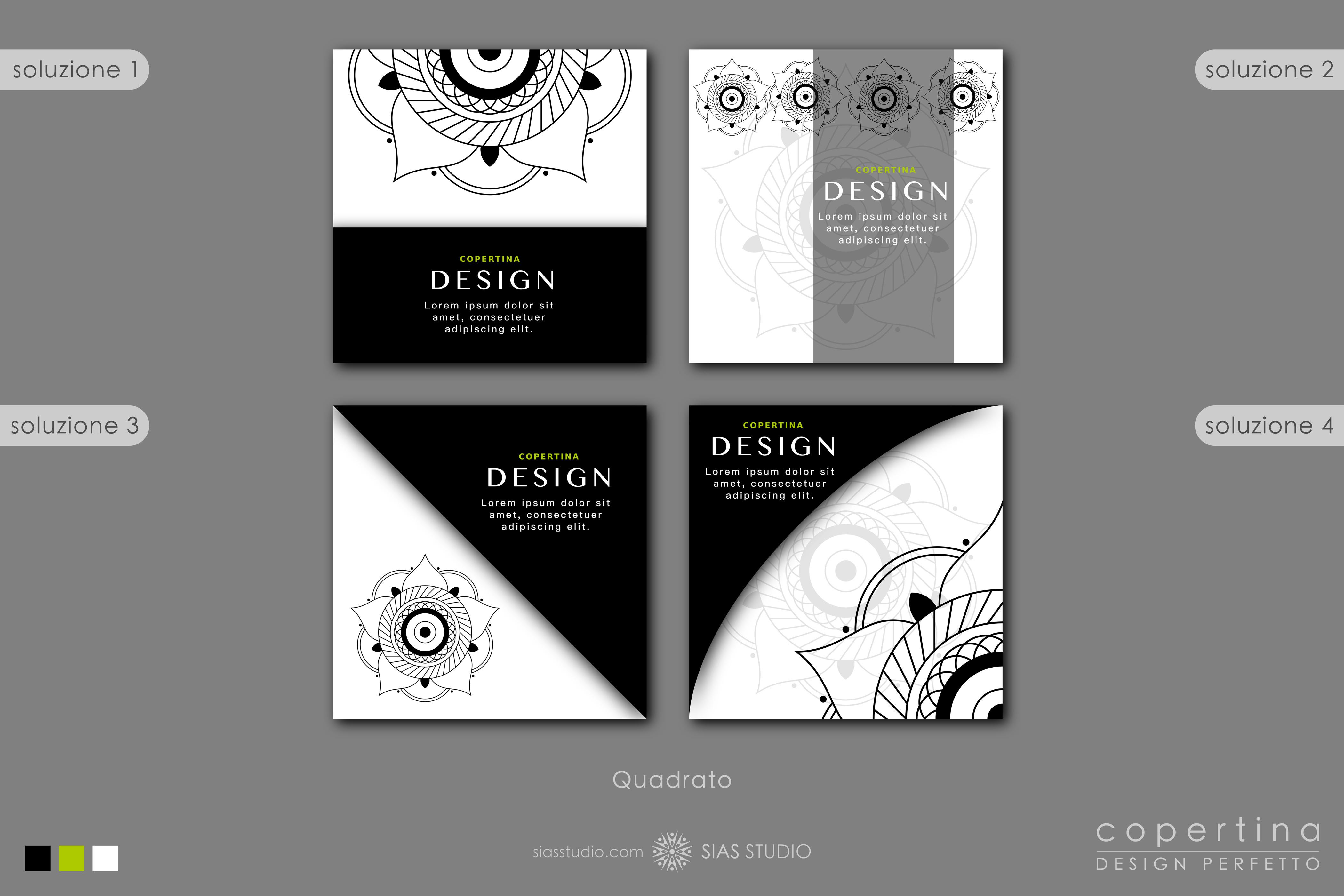 """Modello per Copertina """"Mandala"""" Design con elementi bianco e neri"""