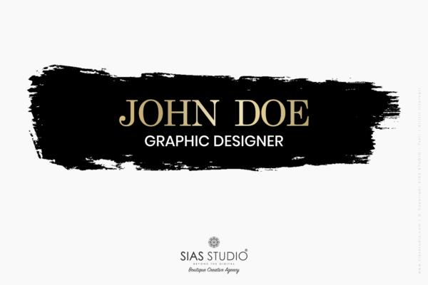 """Pacchetto di branding """"John Doe"""" Design con pennellata nera"""