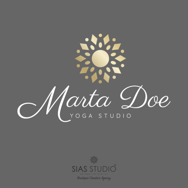 """Pacchetto di branding """"Marta Doe"""" Design con mandala oro"""