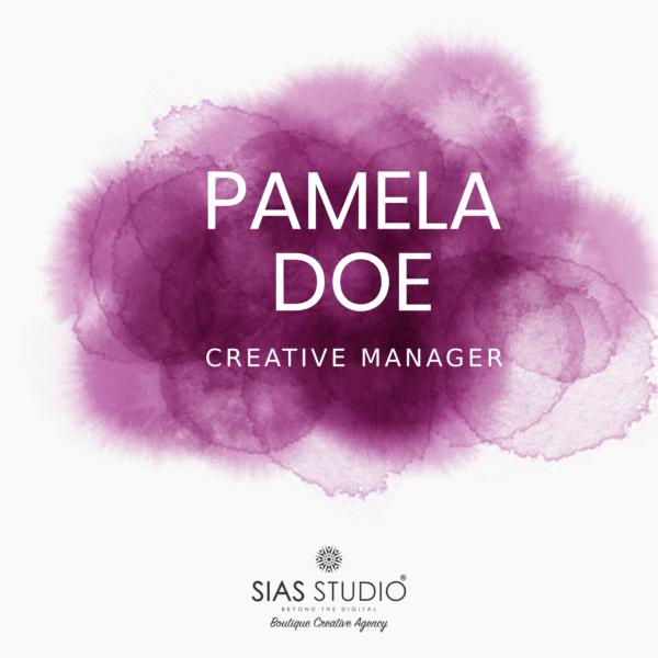 """Pacchetto di branding """"Pamela Doe"""" Design con acquarello viola"""