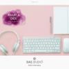 Design 10 – Applicazione logo principale Pamela Doe Design con acquarello viola