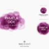 Design 2 – Tris di loghi Pamela Doe Design con acquarello viola