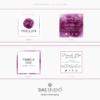Design 7 – Biglietti da visita quadrati Pamela Doe Design con acquarello viola