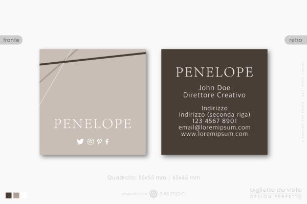 """Modello di Biglietto da visita """"Penelope"""" Design con eleganti linee"""