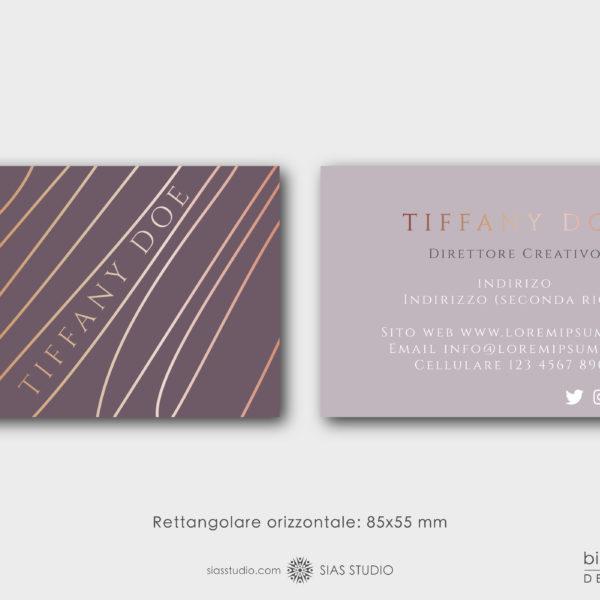 """Modello di Biglietto da visita """"Tiffany Doe"""" Design con fantasia di linee"""
