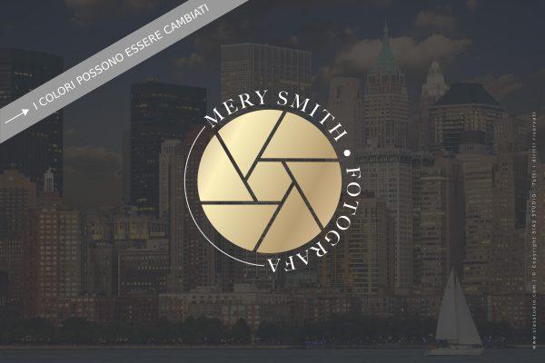 """Logo design per fotografi """"Mery"""" con diaframma oro"""