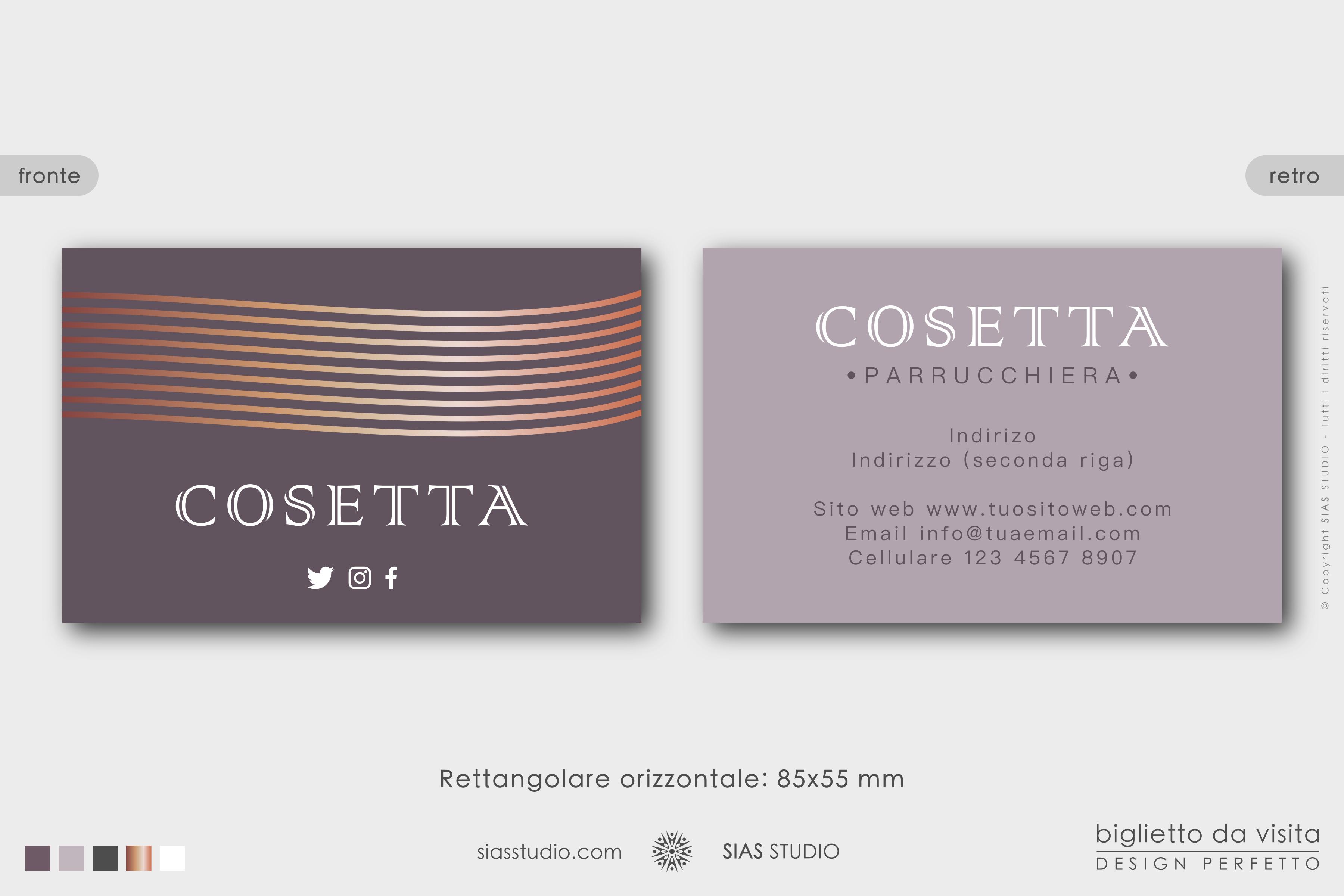 """Modello di Biglietto da visita """"Cosetta"""" Design elegante con linee"""