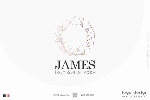 """Logo design """"James"""" Design circolare e moderno con linee"""