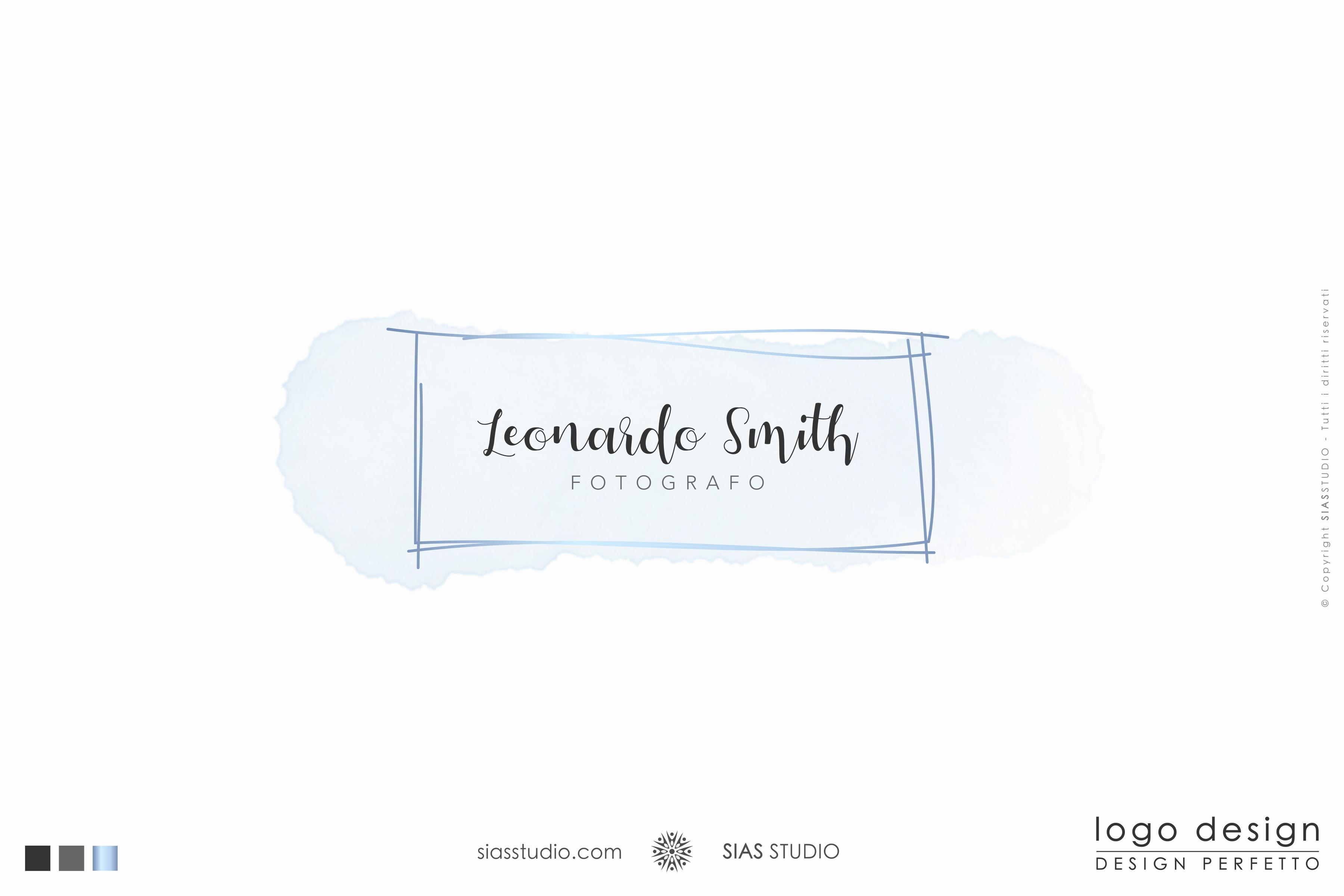 """Logo design """"Leonardo"""" effetto acquarello celeste"""