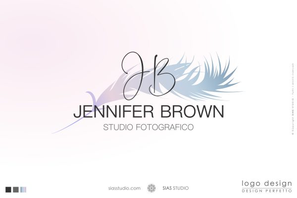 """Logo design precostruito """"Jennifer Brown"""" Design con piuma caratterizzata da una delicata nuance"""