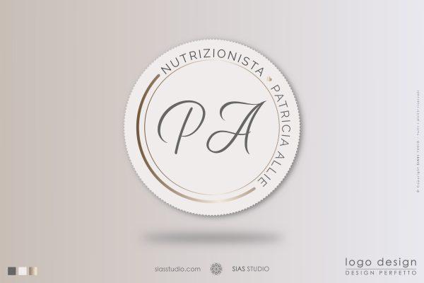"""Logo design precostruito """"Patricia Allie"""" Design professionale con cerchi effetto oro"""
