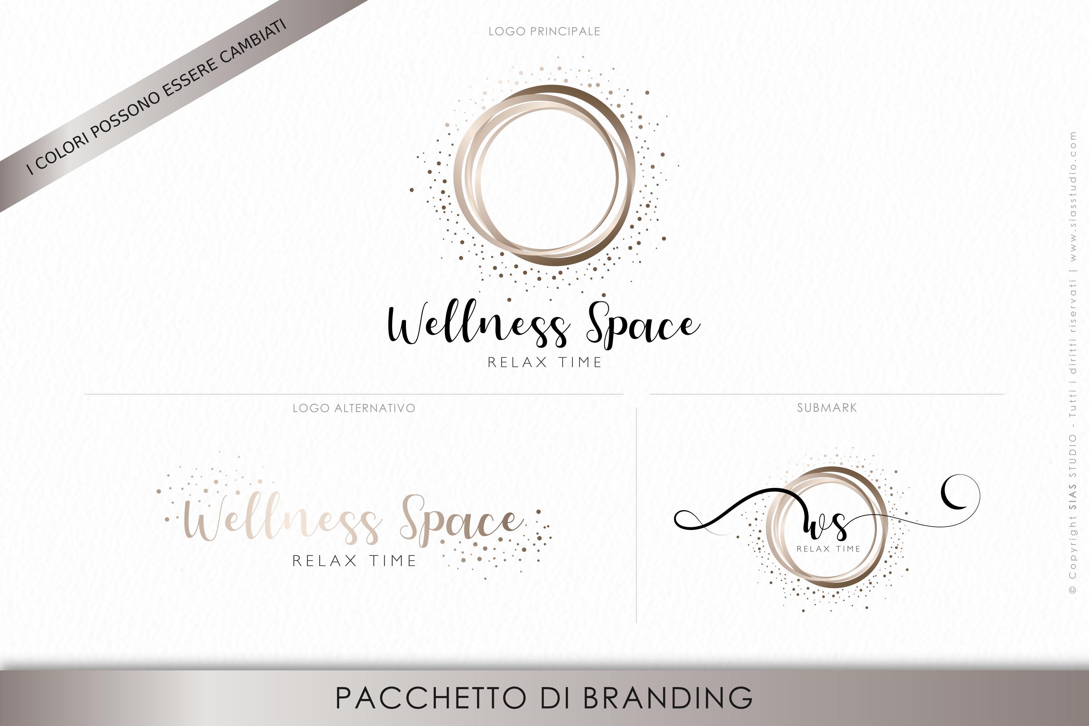 """Pacchetto di branding precostruito """"Wellness Space"""", Design elegante con cerchi"""