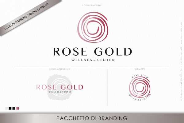 """Pacchetto di branding precostruito """"Rose Gold"""", Design con rosa fatta a mano"""