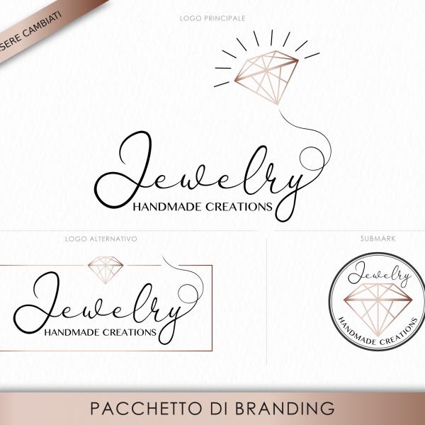 """Pacchetto di branding precostruito """"Jewelry"""", Design elegante con diamante"""