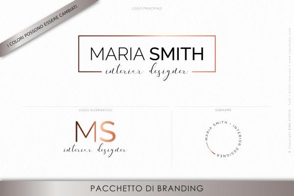 """Pacchetto di branding precostruito """"Maria Smith"""", Design moderno con cornice effetto rame"""