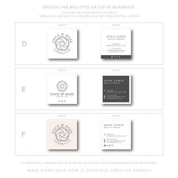 Sias Studio - Coco & Rose Pacchetto di branding Biglietto da visita quadrato