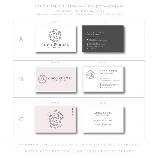 Sias Studio - Coco & Rose Pacchetto di branding Biglietto da visita rettangolare