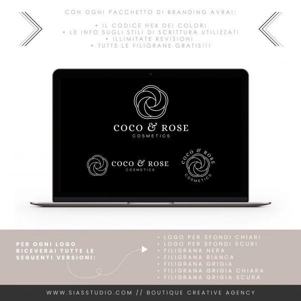 Sias Studio - Coco & Rose Pacchetto di branding Filigrana bianca