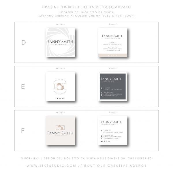 Sias Studio - Fanny Smith Pacchetto di branding Biglietto da visita quadrato