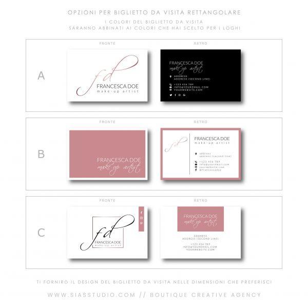 Sias Studio - Francesca Doe Pacchetto di branding Biglietto da visita rettangolare